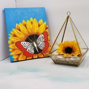 Other - Zebra Butterfly On Sunflower Canvas Painting